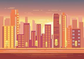 S beau coucher de soleil sur Cityscape avec lumière du soleil chaud vecteur