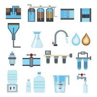 icônes plates de filtration de l & # 39; eau vector illustration