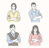 une collection de personnes aux bras croisés. illustrations de conception de vecteur de style dessiné.