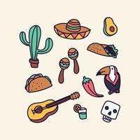 Mexique Éléments Doodled vecteur