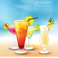 illustration vectorielle de fond de cocktail d'été vecteur