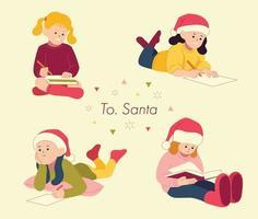 les enfants mignons écrivent des lettres au père Noël. illustrations de conception de vecteur de style dessiné à la main.