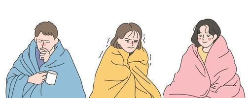 patients froids portant des couvertures. illustrations de conception de vecteur de style dessiné à la main.