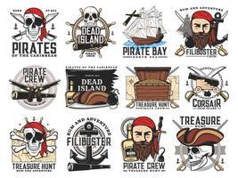 Emblèmes de chasse au trésor de flibustier sur l'île des pirates vecteur