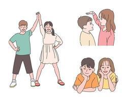 mignon garçon et fille jeunes amis. illustrations de conception de vecteur de style dessiné à la main.