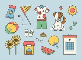 des choses qui me rappellent les vacances d'été de mon enfance. esquisser une illustration vectorielle simple. vecteur