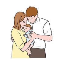 papa et maman tiennent joyeusement leur nouveau-né. illustrations de conception de vecteur de style dessiné à la main.