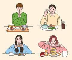 les personnes mangeant une variété d'aliments. illustrations de conception de vecteur de style dessiné à la main.