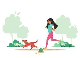 femme jogging avec chien au printemps. activité de plein air. illustration vectorielle. vecteur