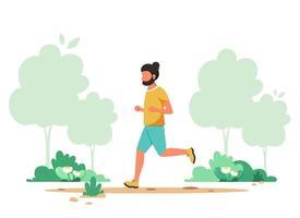 homme jogging dans le parc du printemps. activité de plein air, mode de vie sain. illustration vectorielle. vecteur