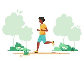 homme noir jogging dans le parc du printemps. activité de plein air, mode de vie sain. illustration vectorielle. vecteur