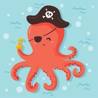 Vecteur de pieuvre pirate