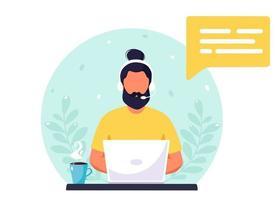 homme avec un casque travaillant sur ordinateur. service client, assistant, support, concept de centre d'appels. illustration vectorielle. vecteur