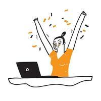 Portrait d'une jeune fille excitée avec ordinateur portable vecteur