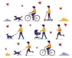 homme noir faisant des activités de plein air pendant la pandémie. marcher avec un chien, faire du vélo, faire du jogging. homme noir au masque facial. concept de quarantaine. vecteur