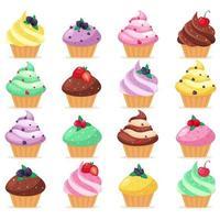 grand ensemble de petits gâteaux. pâtisseries sucrées décorées de cerise, framboise, fraise, myrtille. illustration vectorielle vecteur