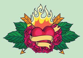 Conception de tatouage de coeur vecteur