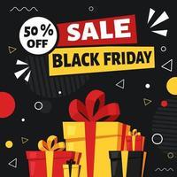 bannière de vendredi noir. cadeaux et achats. illustration vectorielle dans un style plat. vecteur