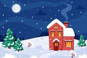 paysage d'hiver avec maison, sapins, lune. illustration vectorielle. vecteur