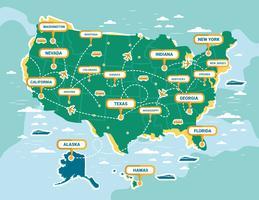 Vecteur de carte de repère des États-Unis
