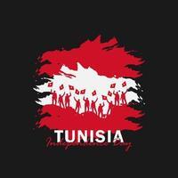 vecteur de la fête de l'indépendance avec des drapeaux de la Tunisie.