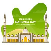 Jour plat Arabie saoudite nationale avec fond dégradé Illustration vectorielle vecteur