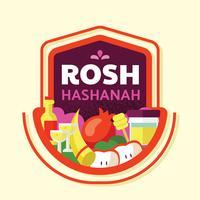 Conception de vecteur rosh hashanah insigne