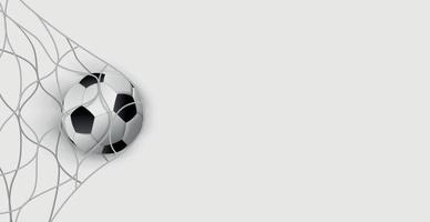 ballon de football dans un filet de but de football sur fond blanc - vecteur