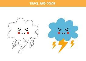 trace et couleur des nuages d'orage kawaii. feuille de calcul pour les enfants. vecteur