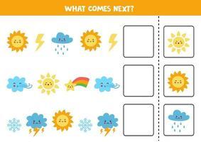 ce qui vient prochain jeu avec de jolis éléments météorologiques colorés. vecteur