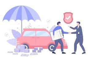 Le concept d'assurance automobile peut être utilisé comme protection contre les dommages aux véhicules et les risques d'urgence. illustration vectorielle vecteur