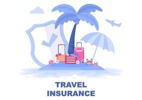 concept d'assurance voyage et voyage pour les accidents, protéger la santé, les risques d'urgence pendant les vacances. illustration vectorielle vecteur