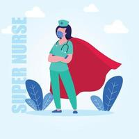 cape de personnage de super-héros infirmière vecteur