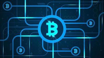 Bitcoin est une crypto-monnaie qui peut être librement échangée. vecteur