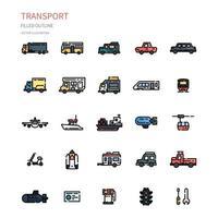 jeu d'icônes de contour rempli de transport. icône pour site Web, application, impression, conception d'affiche, etc. vecteur