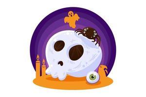 crâne d'élément de conception halloween pour carte de voeux vecteur