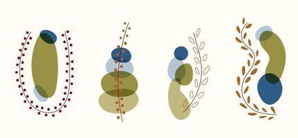 ensemble de tendance organique abstraite, forme de feuilles et éléments graphiques sur fond blanc vecteur