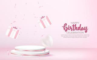 Fond de joyeux anniversaire 3D avec boîte-cadeau, confettis et podium. vecteur