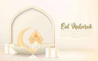 fond eid al-fitr avec croissant, lanterne et boîte-cadeau. eid mubarak bannière célébration design concept. vecteur