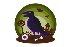 Élément d'halloween avec corbeau pour carte, invitation vecteur