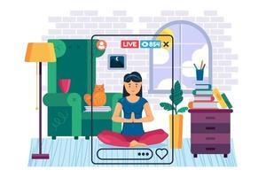 caractère de vecteur de couleur plate banderole fille yogi
