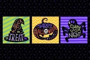carte, invitation pour halloween avec lettrage vecteur
