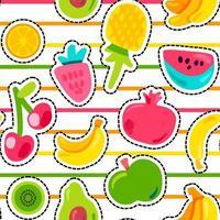 modèle sans couture de vecteur de fruits d'été exotiques