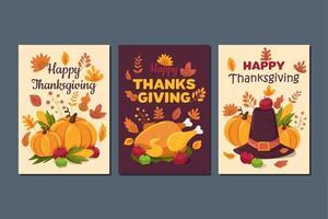 joyeux thanksgiving, jeu de cartes de voeux de vacances traditionnelles vecteur