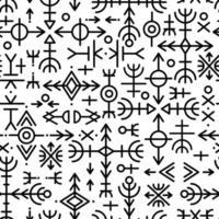 modèle sans couture islandais norvégien ethnique. talismans runiques des vikings et des peuples du nord. runes magiques et magiques. signes païens. fond répétable futhark. vecteur