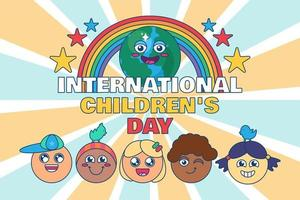 bannière de la journée internationale des enfants heureux enfants vecteur