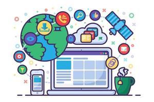communication sur les médias sociaux, concept de réseau mondial vecteur