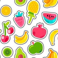 Modèle sans couture peint de fruits juteux d'été lumineux vecteur