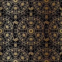 modèle sans couture de boho mandala art luxe doré vecteur