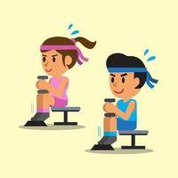 dessin animé, homme femme, faire, haltère, assis, mollet, lever, exercice vecteur